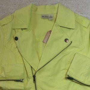 NWT Yellow Lightweight Denim Moto Jacket